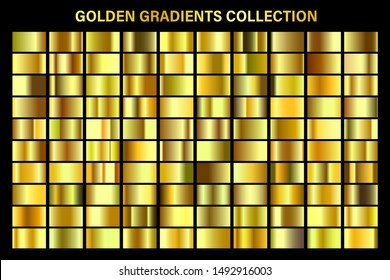 Golden, yellow glossy gradient, gold metal foil texture. Color swatch set. Collection of high quality vector gradients. Shiny metallic background. Design element.