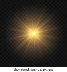 Golden yellow Star burst with dust and sparkle isolated. Glow light effect with rays and shine particles on transparent background Vector eps 10
