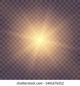 Golden yellow Star burst with dust and sparkle isolated. Glow light effect with rays and shine particles.
