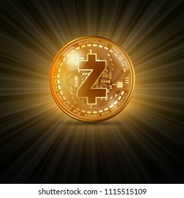 Golden Zcash cryptocurrency coin isolated on shining orange background with rays of light