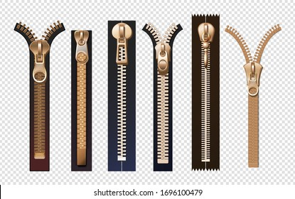 Golden zippers. Metal and plastic fasteners with pulls. Isolated reallistic garment components and handbag accessories vector set