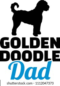 Goldendoodle dad silhouette with blue word