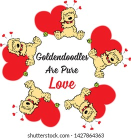 goldendoodle dog with message: Goldendoodles are pure love