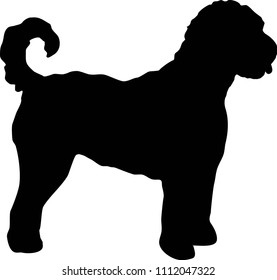 Goldendoodle dog silhouette in black