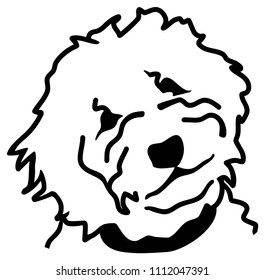 Goldendoodle head silhouette in white