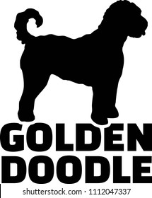 Goldendoodle Silhouette echtes Wort auf Schwarz