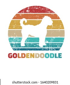 Goldendoodle silhouette vintage and retro