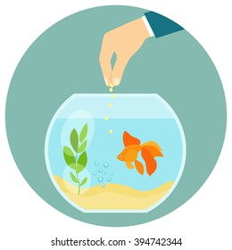 Goldfish in aquarium isolated. Feeding goldfish. Hand holding fish food. Flat vector illustration