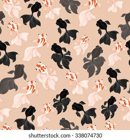 GoldFish and Blackmoor Pattern.Seamless Pattern Background.