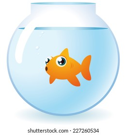 Goldfish in a bowl looking at camera with bubbles vector illustration.
