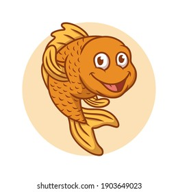 Goldfish Cartoon Vector Illustration. Fish Mascot Logo. Aquarium Fish Symbol Icon Character Drawing Element