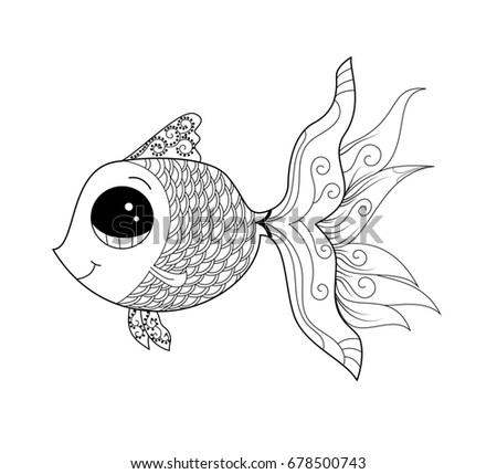 Goldfish Coloring Page Adult Child Vector Stock Vector Royalty Free