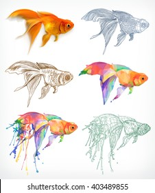 Goldfish, different styles, vector drawing, icon set