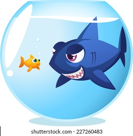 Goldfish fish in danger shark inside fishbowl, seriously dangerous room mate. With big blue shark staring at little cute scared fish both inside fishbowl, vector illustration.