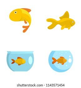 Goldfish and fishbowl icons set. Flat illustration of 4 goldfish and fishbowl vector icons isolated on white
