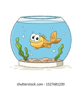 Goldfish in glass. Hand drawn vector illustration with separate layers.