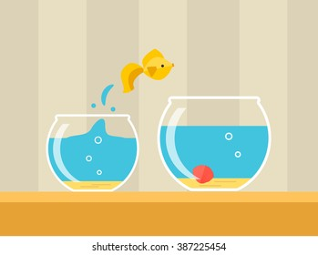 Goldfish jumping from small glass aquarium to big one, vector illustration