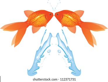 Goldfish Leaping from water,Vector EPS10