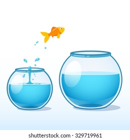 Goldfish making a leap of faith to a bigger fishbowl. Flat style vector illustration isolated on white background.