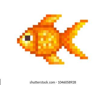 Goldfish, pixel art symbol isolated on white background. Pet animal.Popular aquarium fish. Chinese symbol of wealth and good luck. Old school 8 bit slot machine icon.Retro 80s; 90s video game graphics