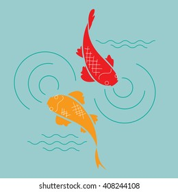 goldfish in the pond, vector illustration