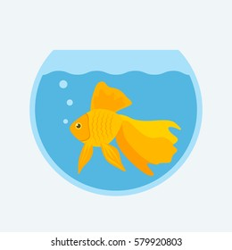 Goldfish in a round aquarium. flat vector illustration isolate on a white background
