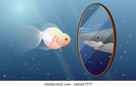 Goldfish under blue sea looking into miror and see a reflection of a Great White shark. Concept idea for self improvement, self esteem, businees ambition.