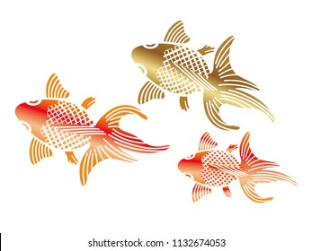 Goldfishes in the Japanese traditional style, vector illustration.