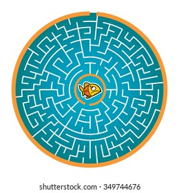 Goldfish's Round Maze Game (help the goldfish find way out of the maze - Maze vector puzzle)