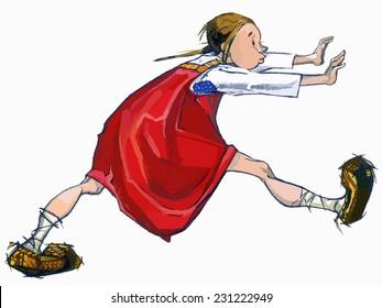 Goldilocks and Three Bears. Running Girl. Traditional Russian fold tail illustration. VECTOR.