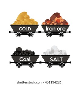 Gold,Iron ore,coal,salt wagons