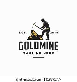 goldmine worker logo icon vector illustration, worker logo, with vintage design style