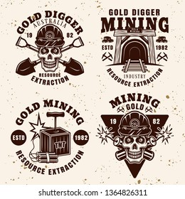 Goldminer company industry and precious metal extraction set of vintage emblems, badges, labels or logos vector illustration isolated on textured light background