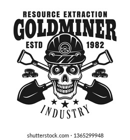 Goldminer skull in protective helmet and two crossed shovels vector monochrome emblem, badge, label or logo in vintage style isolated on white background
