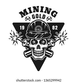 Goldminer skull and two crossed dynamites vector monochrome emblem, badge, label or logo in vintage style isolated on white background