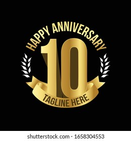 Gold-plated logo for 10th Anniversary with tagline.