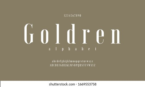 Goldren luxury minimal classic modern typeface typo typography alphabet fonts and number, uppercase lowercase and number. Vector illustration with solid gold color background.
