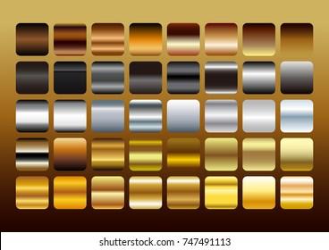 Gold,Silver and Copper Metal color gradation set, gradient illustration.