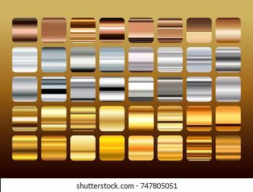 Gold,Silver and Copper  shiny Metal color gradation set, gradient illustration.