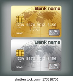 Gold/silver credit card or smart card template design
