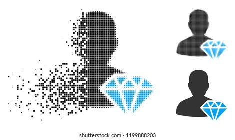Goldsmith icon in fractured, dotted halftone and undamaged solid versions. Points are composed into vector dissolving goldsmith icon. Disappearing effect uses rectangular dots.