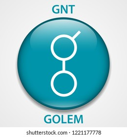 Golem Coin cryptocurrency blockchain icon. Virtual electronic, internet money or cryptocoin symbol, logo