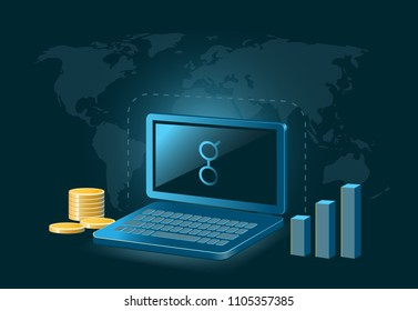 Golem Cryptocurrency Coin Global Laptop Trade Background