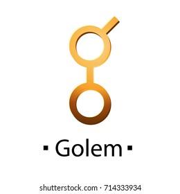 Golem cryptocurrency golden icon. Vector illustration isolated on white background.