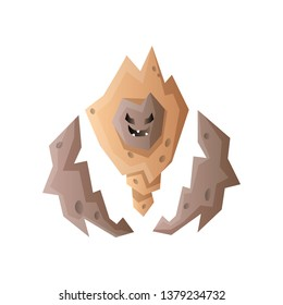 Golem stone rock monster, angry emotion hands