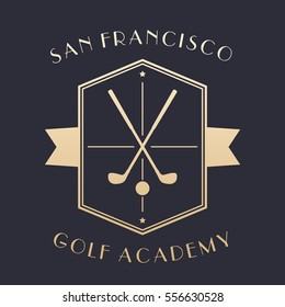 Golf Academy logo, emblem with clubs, gold on dark