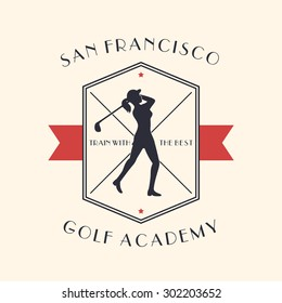 Golf Academy vintage emblem with girl golf player swinging golf club, vector illustration, eps10, easy to edit