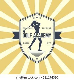 Golf Academy vintage logo, emblem, badge with female golf player swinging golf club, vector illustration, eps10, easy to edit
