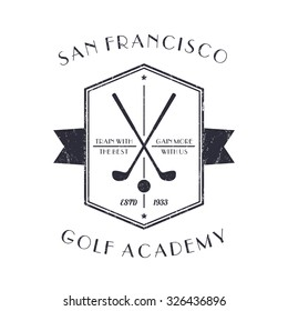 Golf Academy vintage logo, emblem with golf clubs, with grunge texture, vector illustration