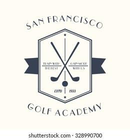Golf Academy vintage logo, emblem with golf clubs, vector illustration